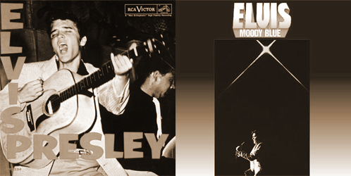 The covers of Elvis Presley's first and last albums