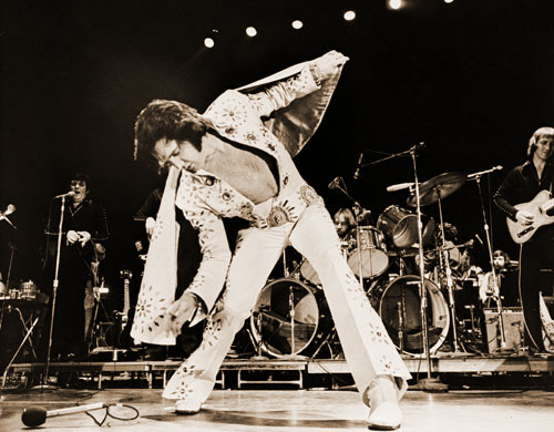 Elvis on stage in 1972 during production of Elvis On Tour