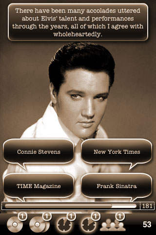 Identify the source of the following quote, There have been many accolades uttered about Elvis' talent and performances through the years, all of which I agree with wholeheartedly. Choices are Connie Stevens, New York Times, TIME Magazine, or Frank Sinatra