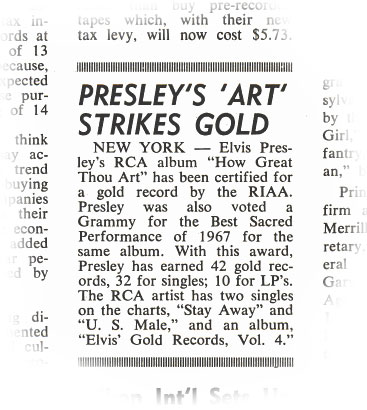 Billboard article, March 30, 1968