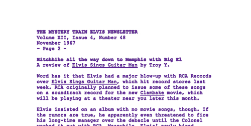 The Mystery Train Elvis Newsletter (November 1967)