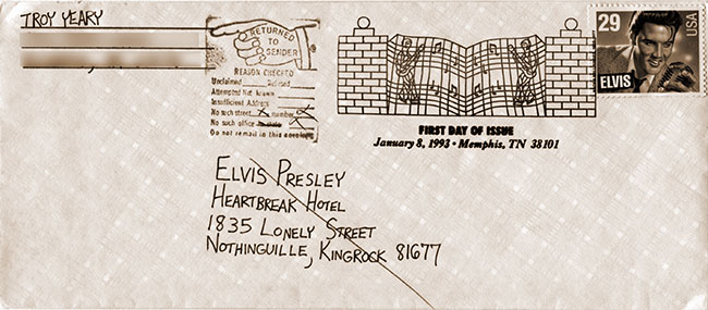 """Return To Sender"" envelope, including a first day Elvis stamp cancellation mark"