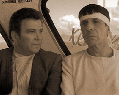 Jim Kirk and Spock discuss language on 20th century Earth in STAR TREK IV