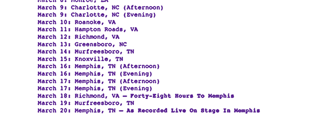 Elvis Presley's March 1974 tour schedule (partial)