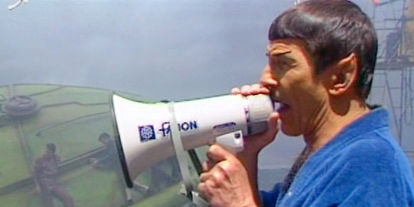 Leonard Nimoy directs a climactic scene in STAR TREK IV: THE VOYAGE HOME (1986)
