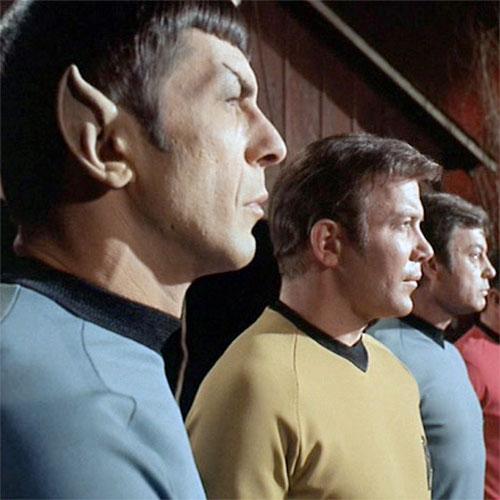 Spock (Leonard Nimoy), Kirk (William Shatner), and McCoy (DeForest Kelley) in STAR TREK: Spectre of the Gun (1968)