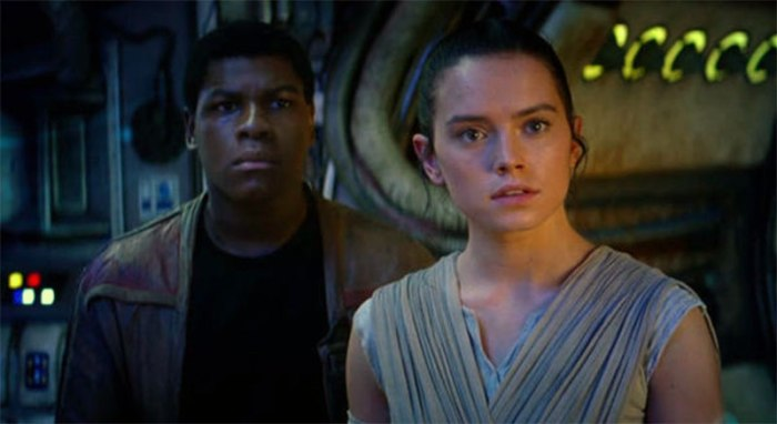 John Boyega is Finn and Daisy Ridley is Rey in STAR WARS: THE FORCE AWAKENS (2015)