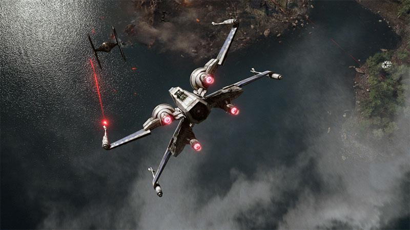 X-Wing versus TIE Fighter in STAR WARS: THE FORCE AWAKENS (2015)