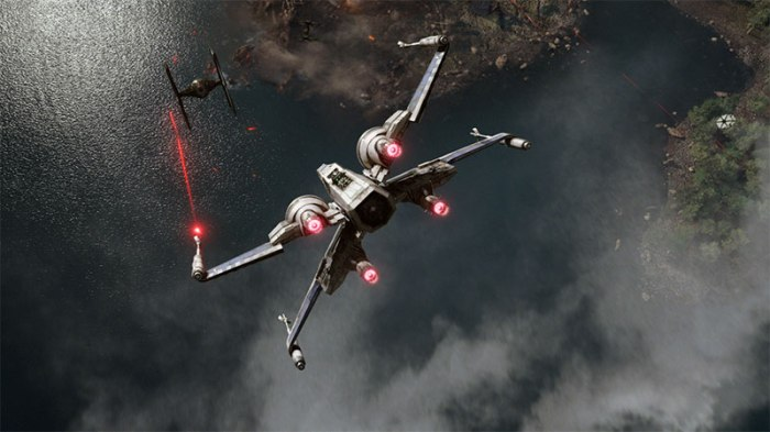 X-Wing versus TIE Fighter in STAR WARS: THE FORCE AWAKENS (2015)