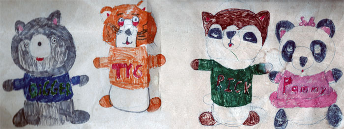 Digger, Tyg, Rick, and Pammy from SHIRT TALES (art by the 8-year-old me, 1983)