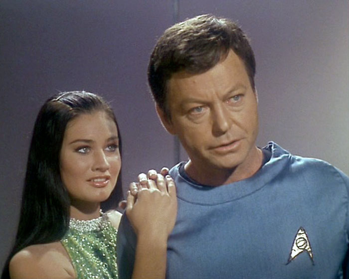 "Maggie Thrett is Ruth and DeForest Kelley is Doctor Leonard McCoy in STAR TREK: ""Mudd's Women"" (Desilu, 1966)"