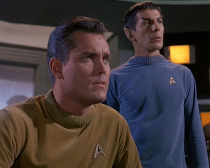 """Jeffrey Hunter is Captain Christopher Pike and Leonard Nimoy is Mr. Spock in STAR TREK: """"The Cage"""" (1964, Desilu)"""