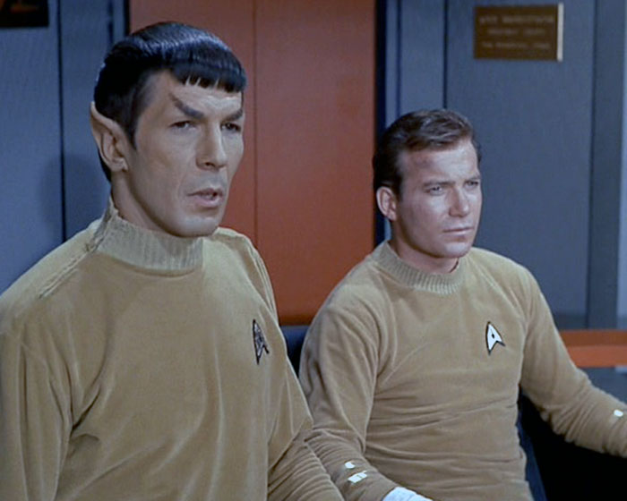"Leonard Nimoy is Mr. Spock and William Shatner is Captain James Kirk in STAR TREK: ""Where No Man Has Gone Before"" (1965, Desilu)"