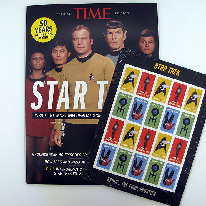 TIME magazine's special STAR TREK edition and the US Postal Service's STAR TREK Forever stamps