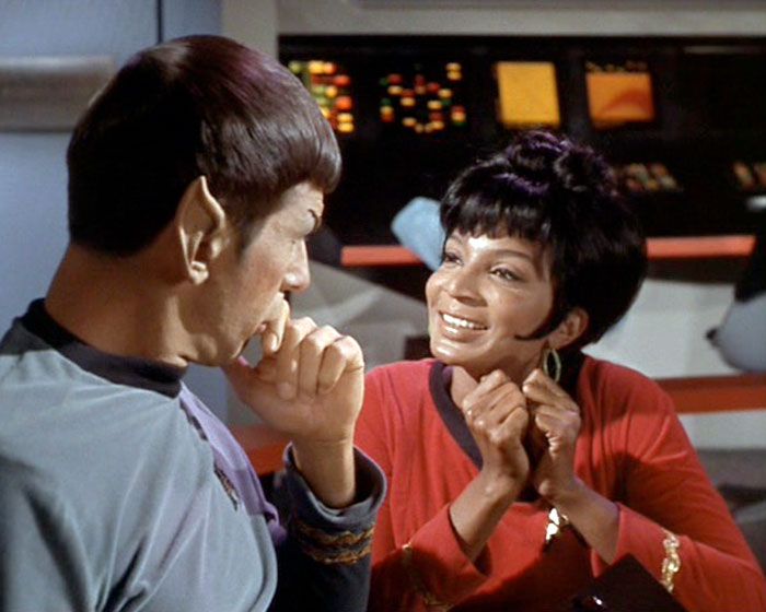 "Uhura (Nichelle Nichols) attempts to flirt with Spock (Leonard Nimoy) in STAR TREK: ""The Man Trap"" (Desilu, 1966)"