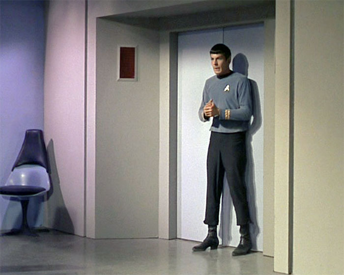 "Spock (Leonard Nimoy) tries to regain control of his emotions in STAR TREK: ""The Naked Time"" (Desilu, 1966)"