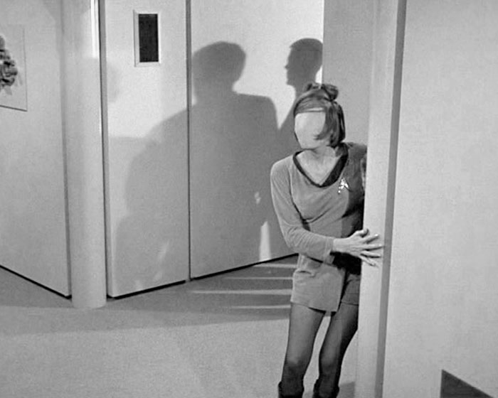 """In one of the most frightening moments from all of STAR TREK, an ensign suffers when her facial features are removed by the power of Charles Evans in """"Charlie X"""" (Desilu, 1966)"""