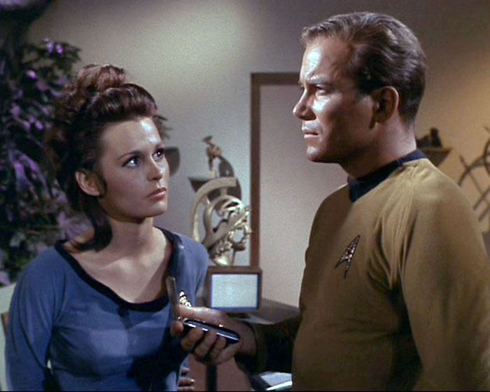 "Marianna Hill is Doctor Helen Noel and William Shatner is Captain James T. Kirk in STAR TREK: ""Dagger of the Mind"" (Desilu, 1966)"
