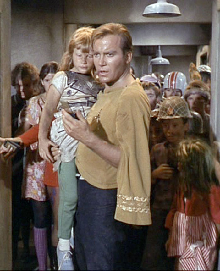 "Kirk (William Shatner) holds one of the Onlies (Lisabeth Shatner) in STAR TREK: ""Miri"" (Desilu, 1966)"
