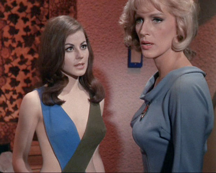 "Sherry Jackson is Andrea and Majel Barrett is Nurse Christine Chapel in STAR TREK: ""What Are Little Girls Made Of?"" (Desilu, 1966)"