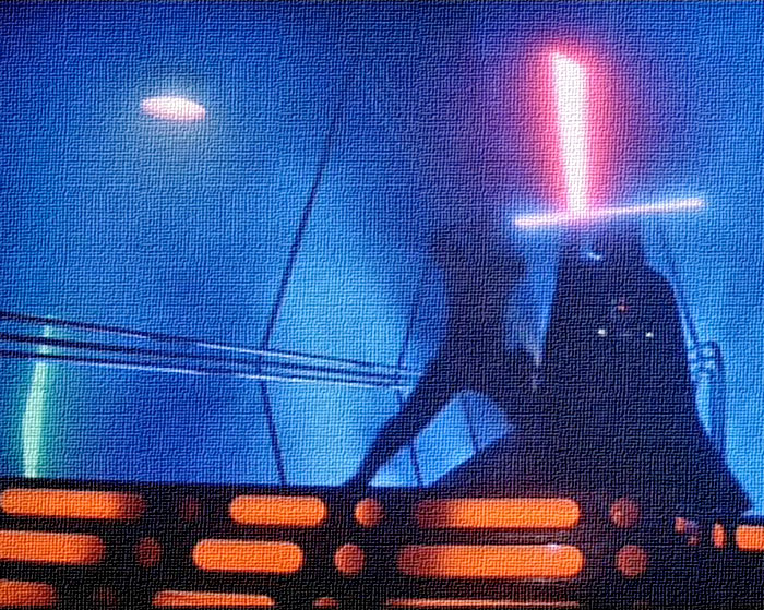 Luke Skywalker (Mark Hamill) battles Darth Vader (David Prowse) in THE EMPIRE STRIKES BACK (20th Century Fox, 1980)