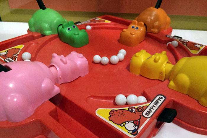 Hasbro's HUNGRY, HUNGRY HIPPOS game (1978), as displayed at the TOYS exhibition