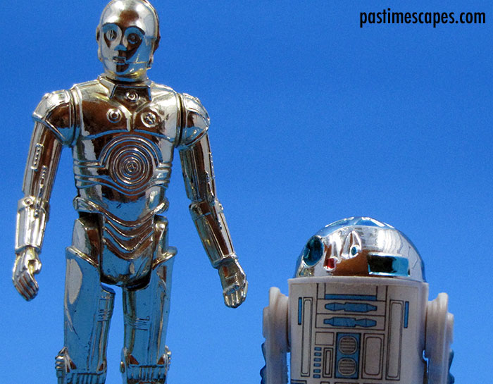 """This is madness!"" See-Threepio (C-3PO) and Artoo-Detoo (R2-D2), Kenner, 1977. (From the author's collection.)"