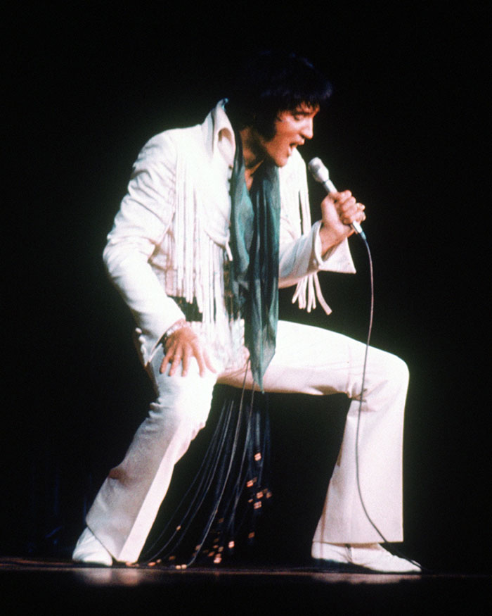 Elvis Presley on stage in 1970. (Image courtesy of AXS TV, used with permission.)