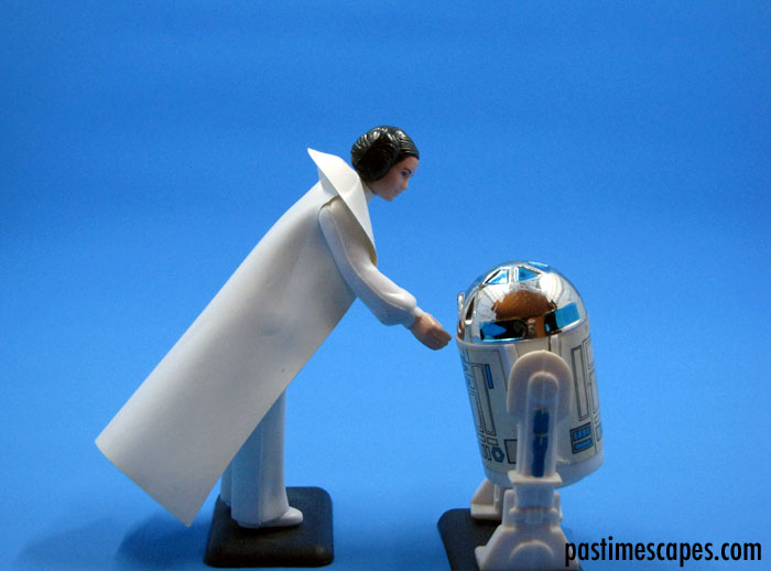 """Artoo-Detoo, where are you?"" Princess Leia Organa and Artoo-Detoo (R2-D2), Kenner, 1977. (From the author's collection.)"