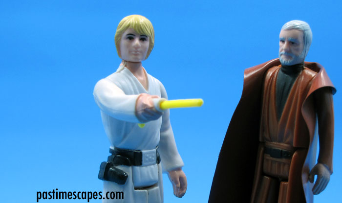 """This is the weapon of a Jedi Knight."" Luke Skywalker and Ben (Obi-Wan) Kenobi, Kenner, 1977. (From the author's collection.)"