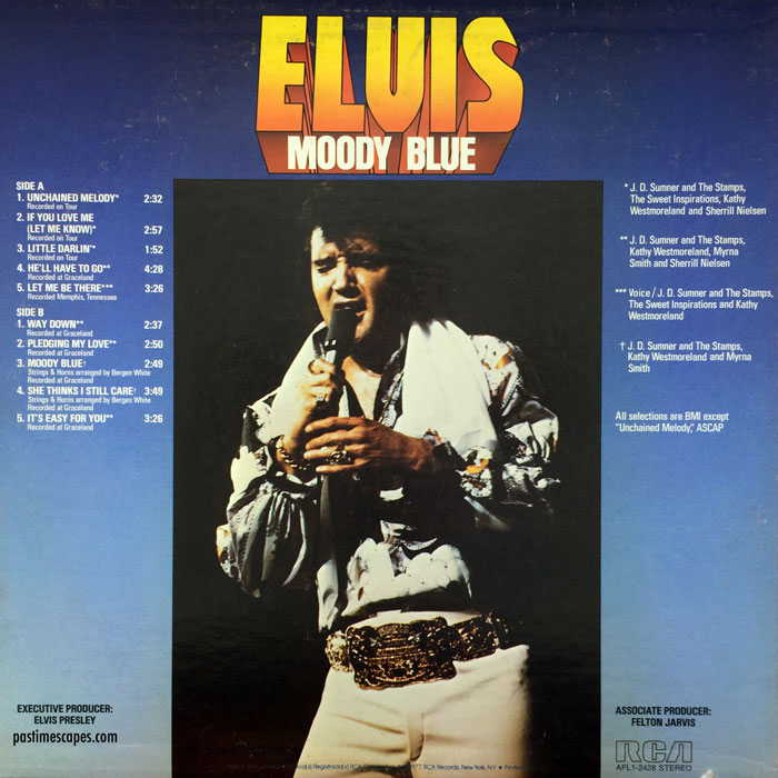 Back cover of MOODY BLUE (RCA, 1977) [Photo by the author]