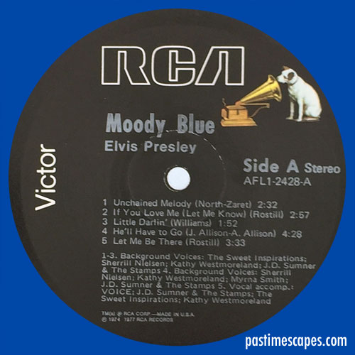 Side A of MOODY BLUE (RCA, 1977) [Photo by the author]