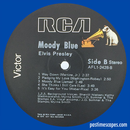 Side B of MOODY BLUE (RCA, 1977) [Photo by the author]