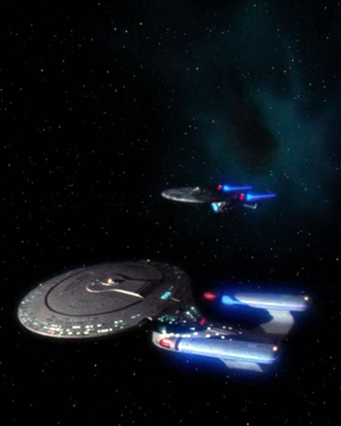 "The ""Enterprise""-D meets the ""Enterprise""-C in STAR TREK: THE NEXT GENERATION - ""Yesterday's 'Enterprise'"" (1990, Paramount)."