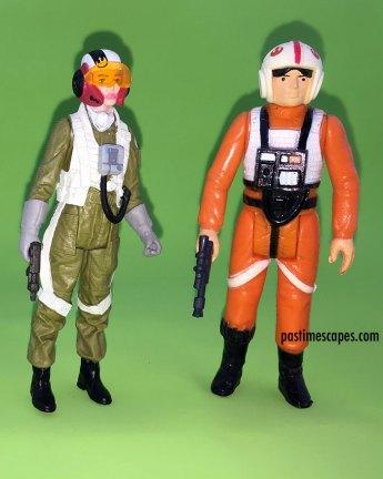 Hasbro's Resistance Pilot Tallie (2017) and Kenner's 1978 Luke Skywalker, X-Wing Pilot (1978) Star Wars figures