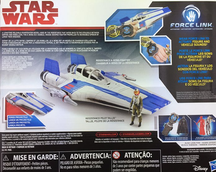 Hasbro's Star Wars Resistance Pilot Tallie and A-Wing Fighter (2017), back box panel