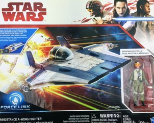 Hasbro's Star Wars Resistance Pilot Tallie and A-Wing Fighter (2017), front box panel