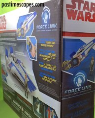 Hasbro's Star Wars Resistance Pilot Tallie and A-Wing Fighter (2017), left and rear box panels