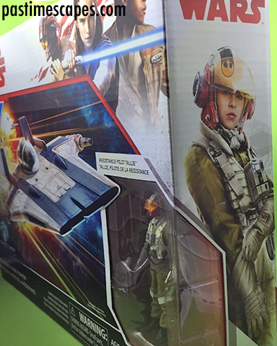 Hasbro's Star Wars Resistance Pilot Tallie and A-Wing Fighter (2017), right and front box panels