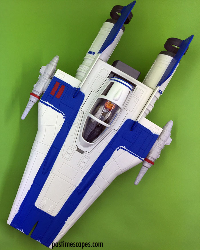 Hasbro's Star Wars Resistance Pilot Tallie and A-Wing Fighter (2017), top view