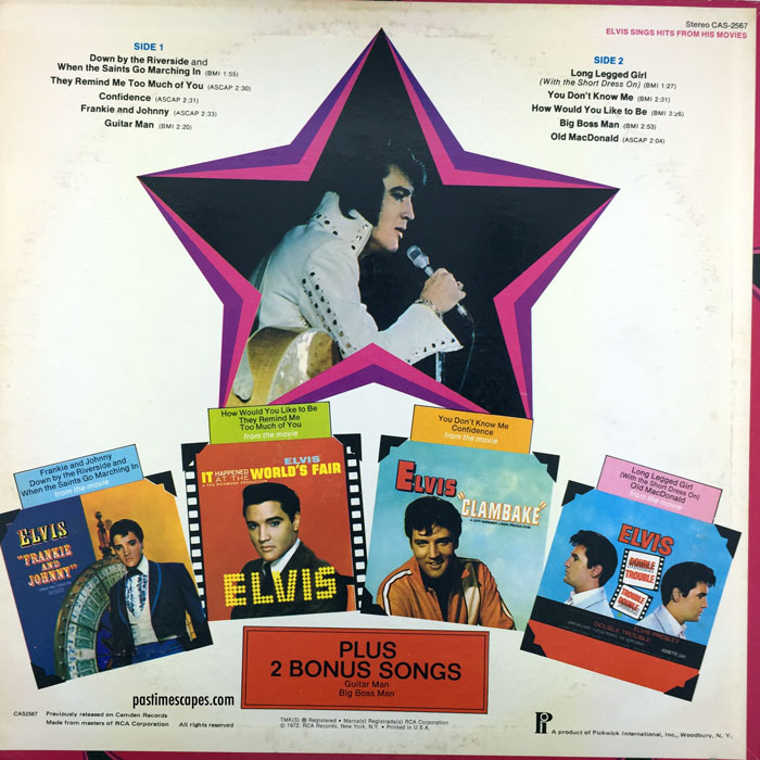 Back cover of ELVIS SINGS HITS FROM HIS MOVIES, VOLUME 1 (Pickwick, 1975/1980) [Photo by the author]
